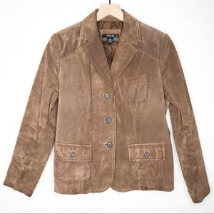 Style & Co Brown Suede Genuine Leather Jacket